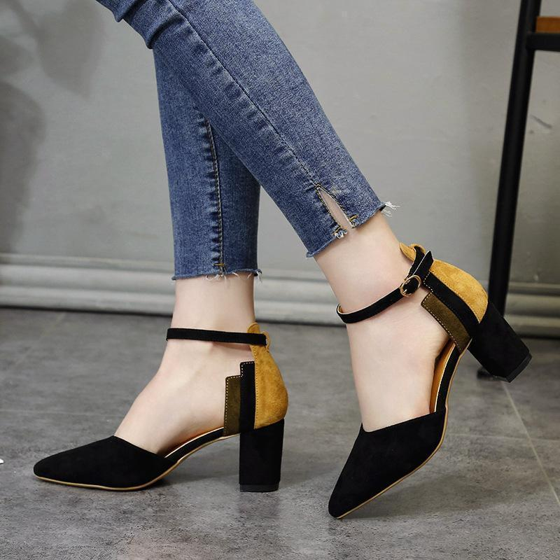 Stylish Color Matching Pointed Pumps Black / 34 Heels