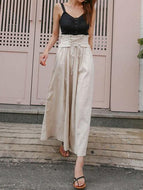 Fashion Casual Loose Plain Lace-Up High Waist Vacation Pants