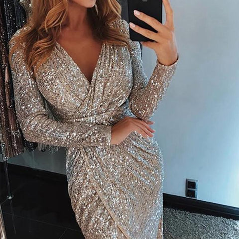 Surplice High Slit Plain Evening Dresses Same As Photo / S Dress