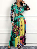 Fashion Turndown Collar Contrast Color Maxi Dresses Dress
