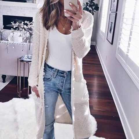 Fashion Long Sleeve Plain Pocket Cardigans White / S