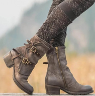 Middle Heel Side Zipper Belt Buckle Thick Mid Boots Boots