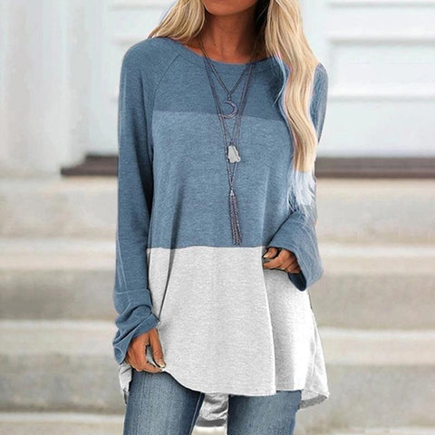 Color matching casual round neck long sleeve pullover T-shirt