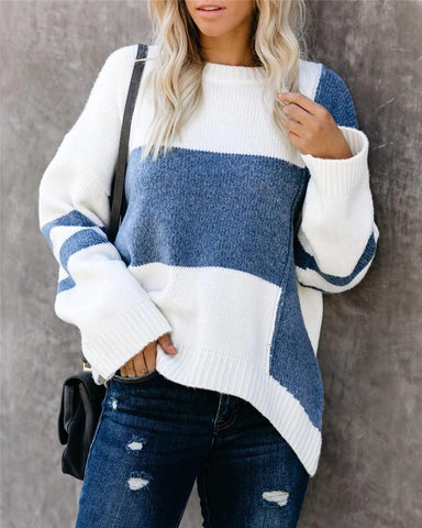 Fashion Broken Holes Knitted Blue Sweater