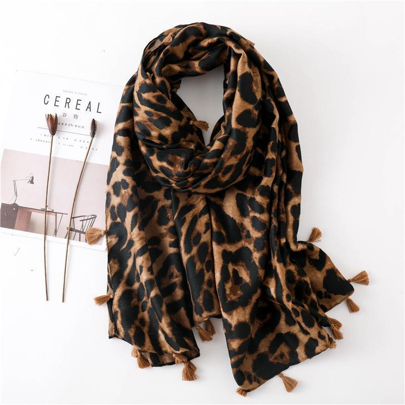 Fashion Cotton Linen Leopard Scarf Long Paragraph Wild Ladies Dual-Use Shawl Same As Photo / One