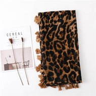 Fashion Cotton Linen Leopard Scarf Long Paragraph Wild Ladies Dual-Use Shawl Accessories