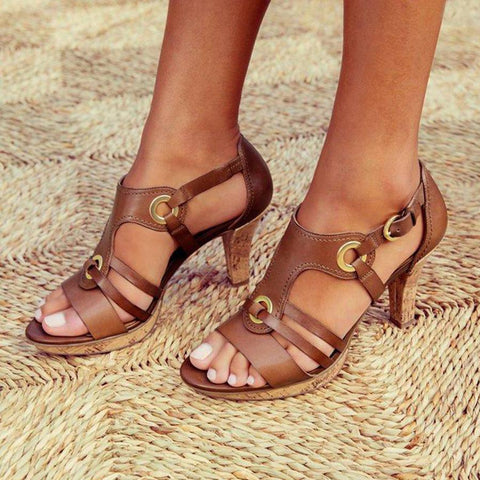 Plain Chunky High Heeled Peep Toe Date Travel Sandals Brown / Us5