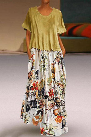 [Free] Vintage Round Neck Short Sleeve Splicing Printed Colour Dress Casual Dresses