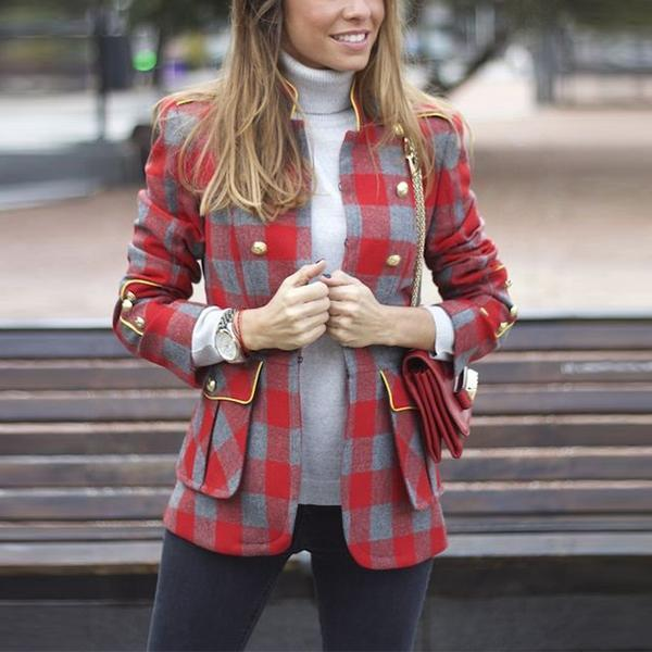 Fashion Plaid Stitching Long Sleeve Small Suit Same As Photo / S Coat