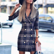 Casual V Neck Plaid Halflong Sleeve Coat Blue / S