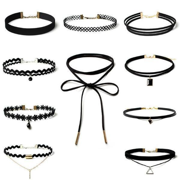 Gothic Polo Fake Collar Choker Necklace Set   Same As Photo / One Size Accessories
