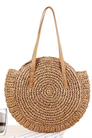 Simple Round Straw Beach Fashion Handbag Bag