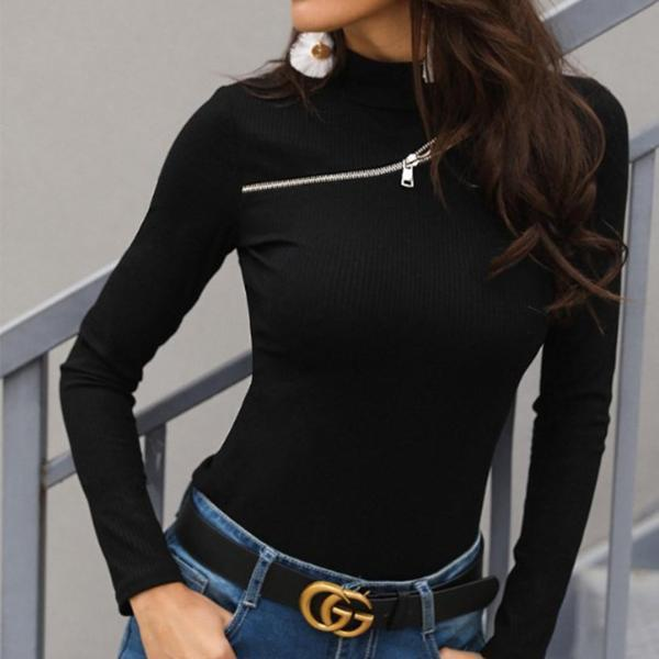 Round Neck Plain T-Shirts Black / S Shirts & Blouses