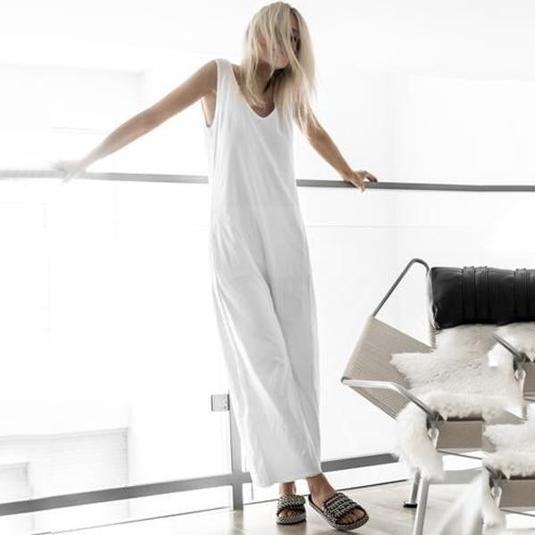 Fashion Round Neck Pure Colour Sleeveless Jumpsuit White / One Size