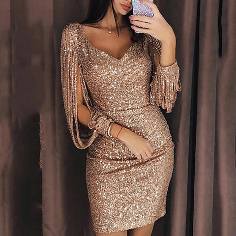 Sexy Deep V Long Sleeve Slim Shiny Evening Dresses Dress