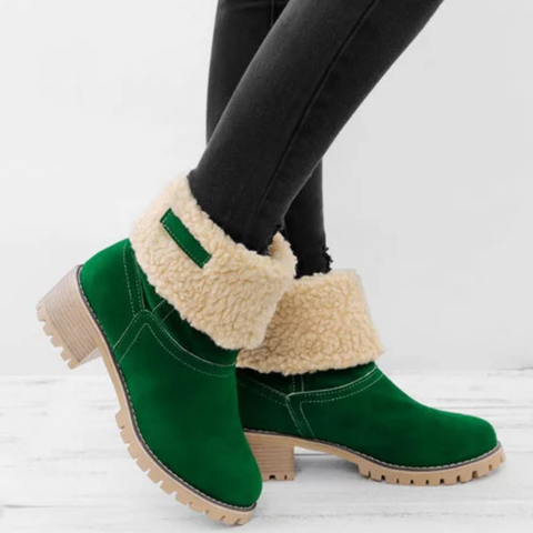 Women Warm Square Heels Multicolor Snow Boots Green / Us5