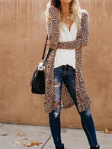 Collarless Leopard Print Outerwear / S