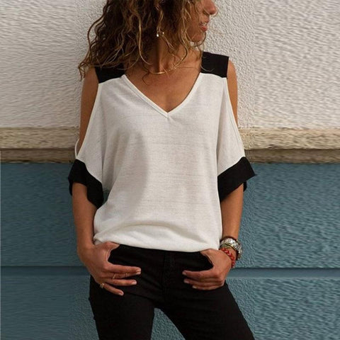 [Free] V Neck Patchwork Batwing Sleeve T-Shirts White / Xl