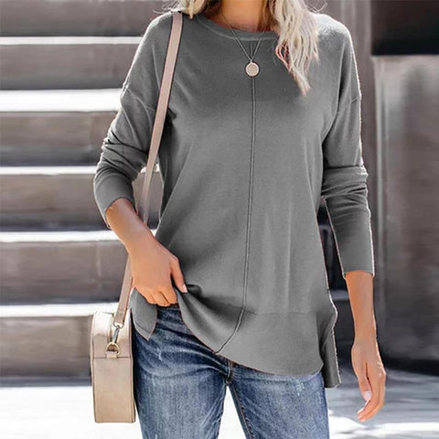 Casual Round Collar Long Sleeve Knit Sweater M / Gray