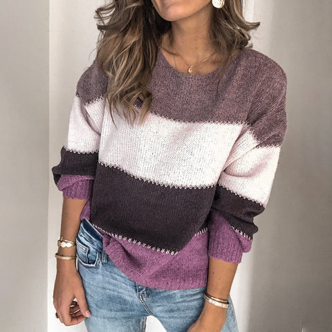 Round Neck Colorblock Long Sleeve Knit Sweater Purple / S