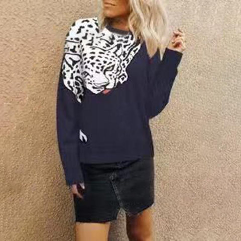 Womens Fashion Creative Tiger Print Long Sleeve Sweater Blue / S