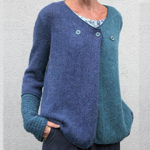 Womens Casual V Neck Loose Pure Color Long Sleeve Sweater