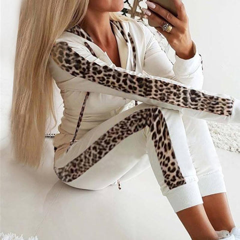Leopard Long Cuff Printed Zipper Hoodie Suit White / S Jumpsuits