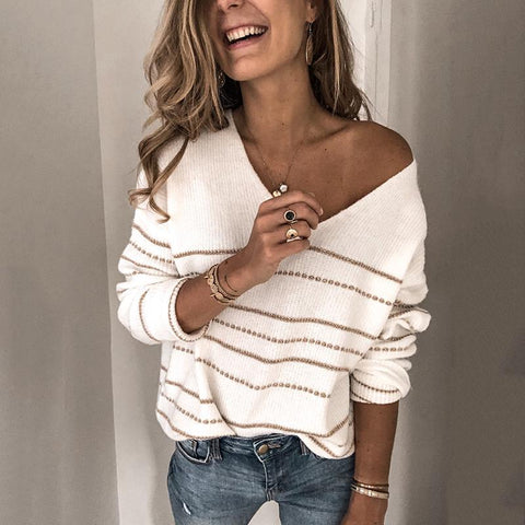 Casual V-Neck Contrast Line Long Sleeve Sweater