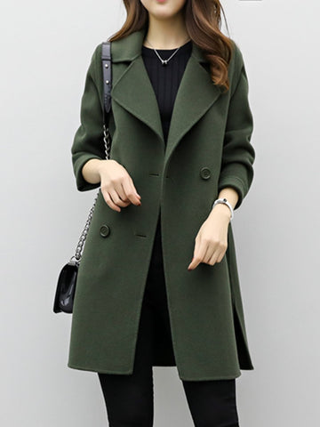 2019 Cea Lapel Double Breasted Plain Coats Outerwears