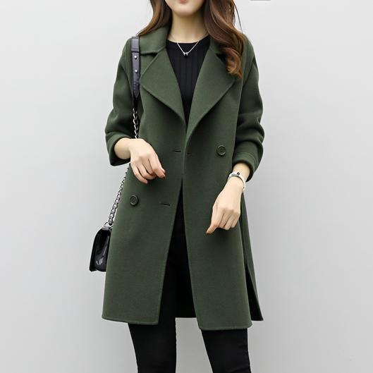 2019 Cea Lapel Double Breasted Plain Coats Army Green / S Outerwears