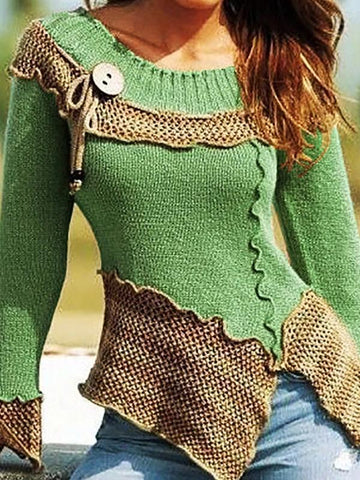 Solid color round collar knitted sweater