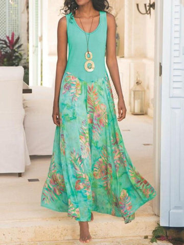 Print Round Neck Ankle-Length A-Line Travel Look Dress