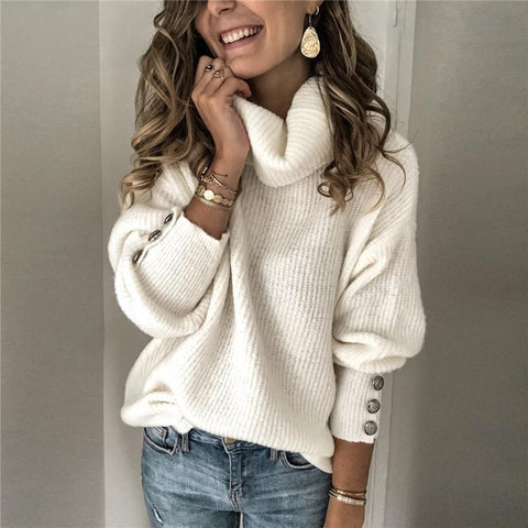 Womens High Collar Loose Casual Solid Color Sweater