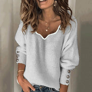 Womens Fashion V-Neck Sweater Gray / S