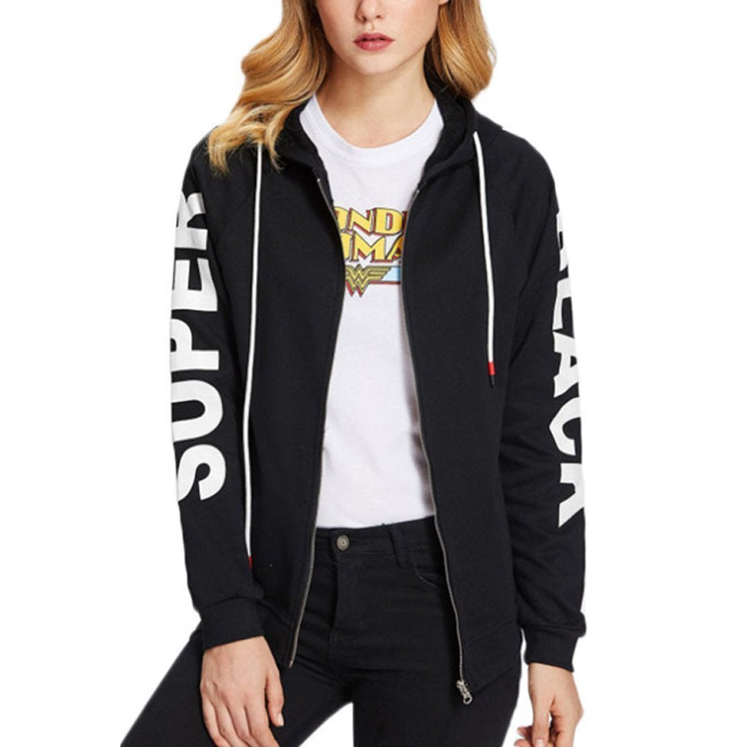 Hooded Blend Casual Letters Jackets Black / S Coat