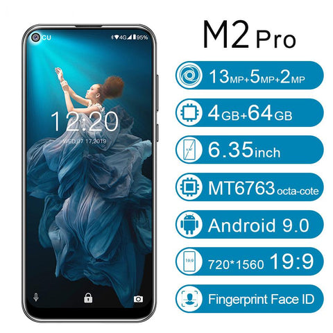 "M2 Pro 6.35""19.5:9 Android 9.0 Mobile Phone MTK6763 Octa Core 4G RAM 64G ROM Dual 4G LTE Rear Triple Cameras Smartphone"