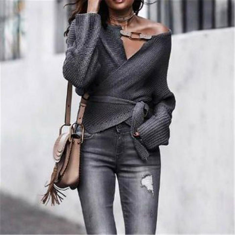 Autumn And Winter Fashion Open-Shoulder Long Sleeve Shirt Gray / S Shirts & Blouses