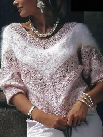V Neck Long Sleeve Soft Sweaters Pink / S Outwear