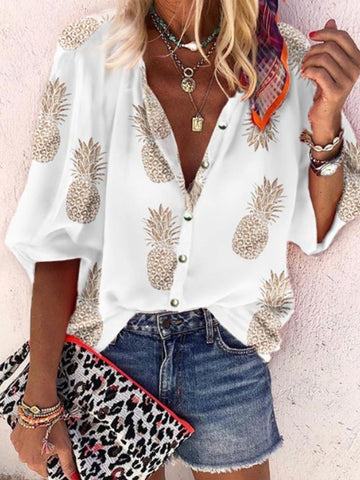 Casual Printed Long-Sleeve Blouses Shirts &