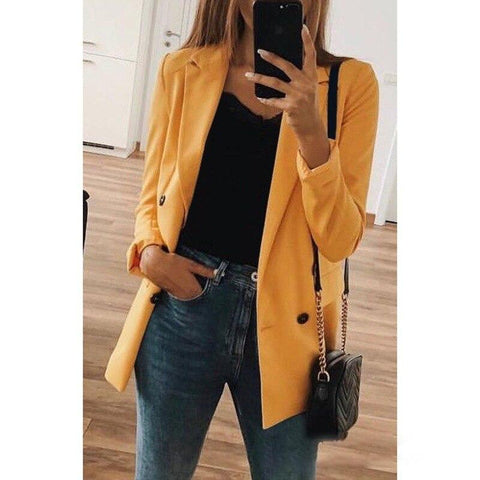 Women Autumn Long Sleeve Solid Double-breasted Buttons Business Casual Blazers OL Plus Size S-5XL Elegant Slim Suit SJ3716E