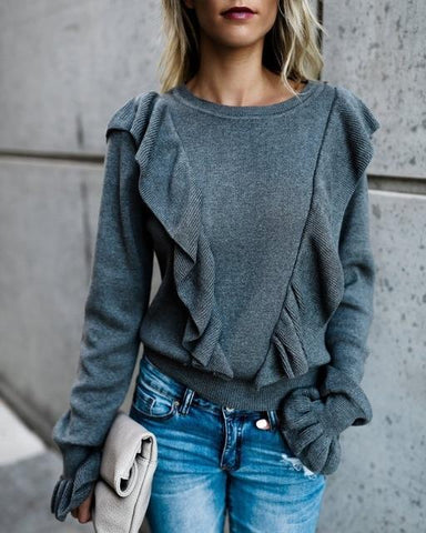 2019 Autumn/ Winter Sweet Vintage Slim Ladies Long-Sleeved Shirt Fungus Ruffled Trumpet Sleeve Knit