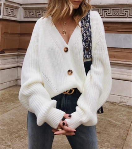 Button Front Raglan Sleeve Cardigan White / S Sweater
