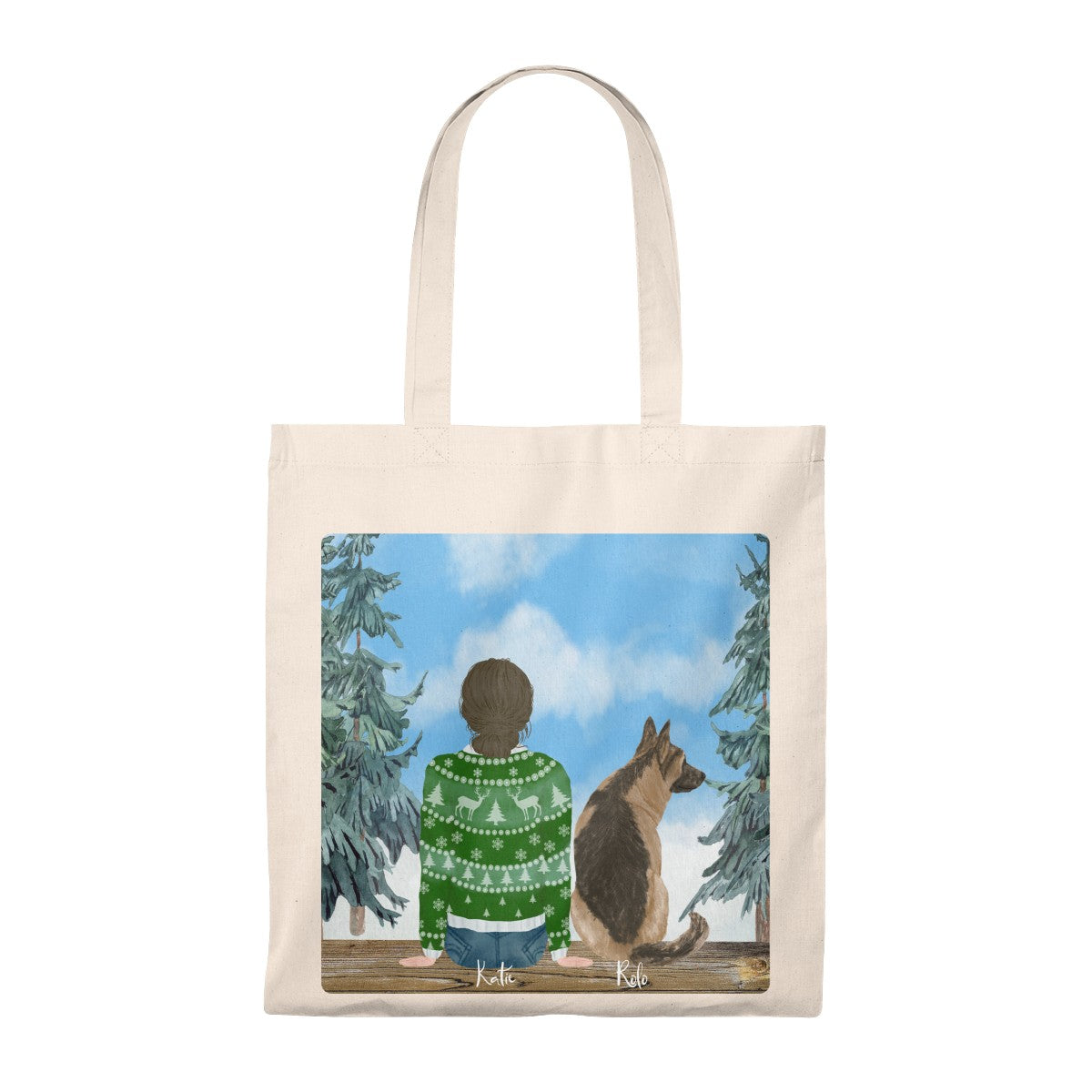Custom Dog and Owner Tote Bag