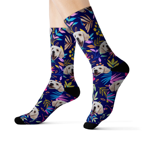 Your Pet On Socks - Midnight Floral