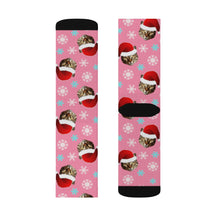 Load image into Gallery viewer, Santa Hat Cat Socks