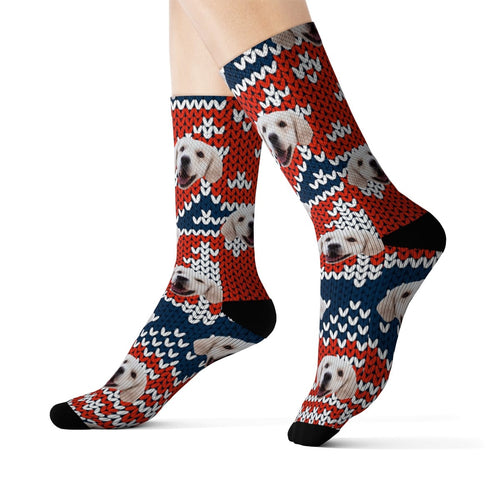 Your Pet On Socks - Sweater Pattern Red White Blue