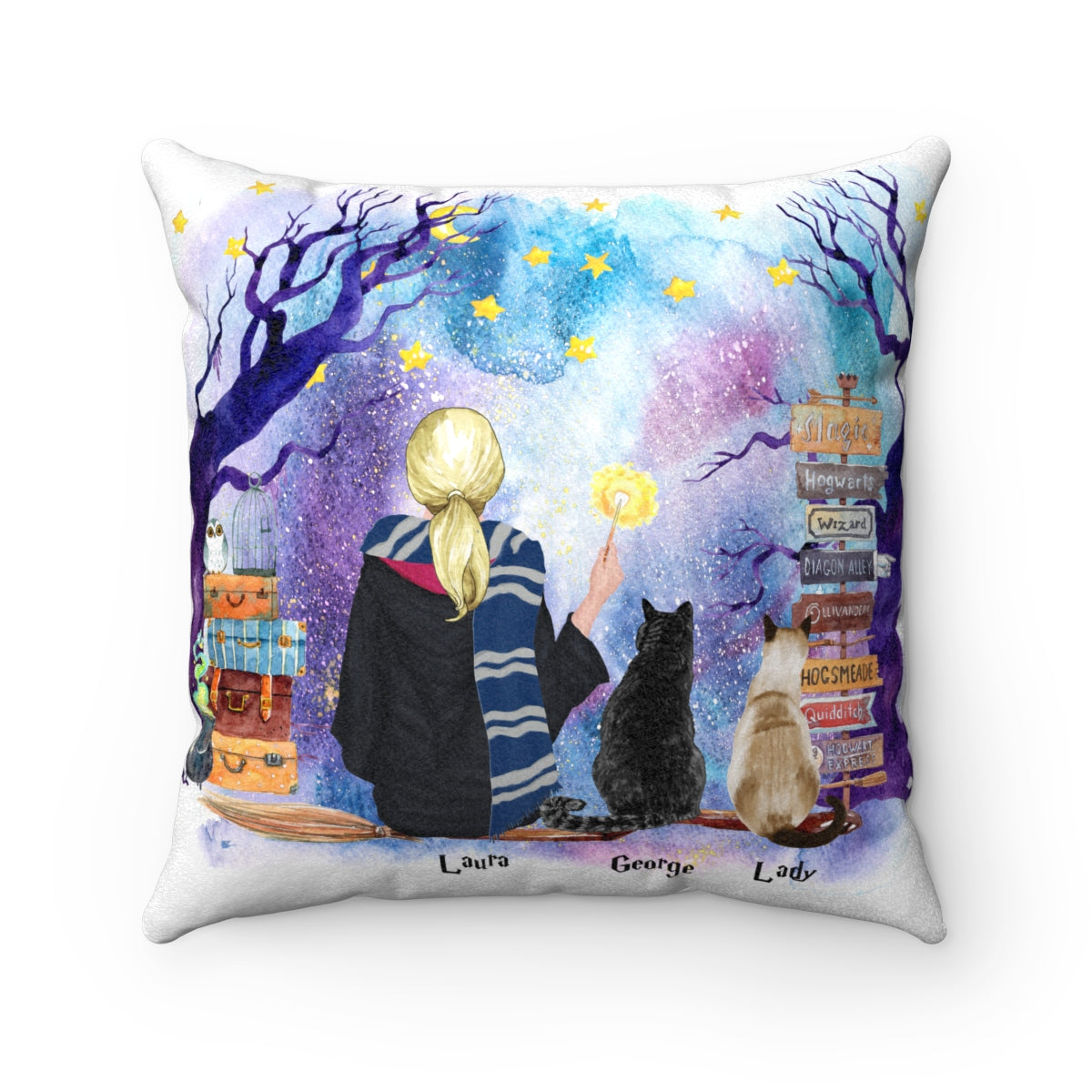 Two Cats and Witch Cushion Personalised