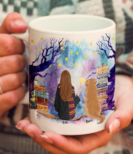 Custom Dog and Witch Mug