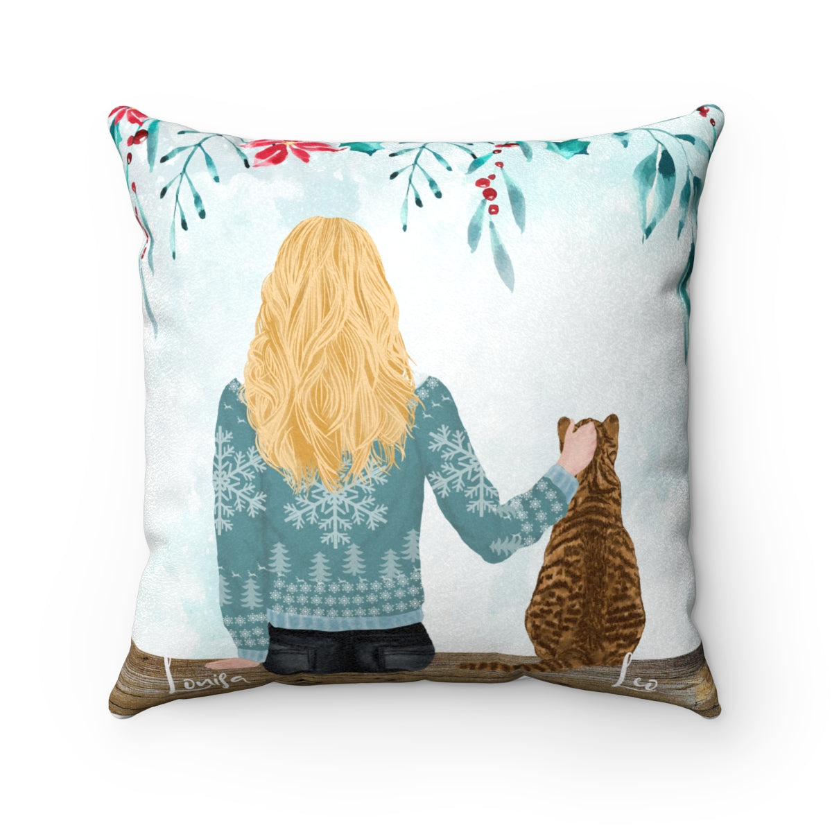 Custom Cat and Owner Cushion