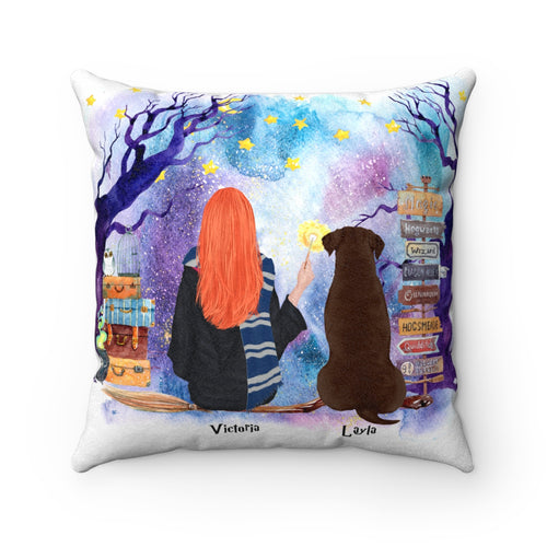 Dog and Witch Cushion Personalised